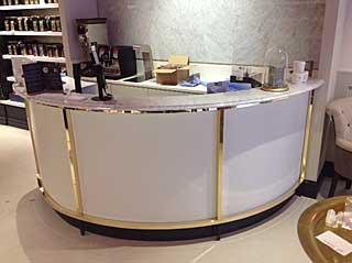 Reception desks manufactured for shopfitting by carpenter jon gillmore